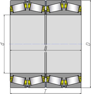 Подшипники роликовые радиально-упорные с коническими роликами четырехрядные 1