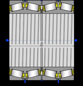 Подшипники роликовые радиально-упорные с коническими роликами четырехрядные 2