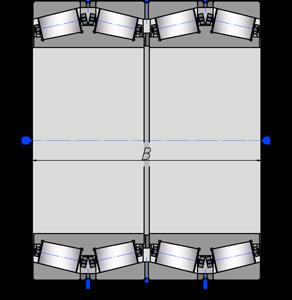 Подшипники роликовые радиально-упорные с коническими роликами четырехрядные 3